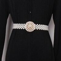Women pearls beading belt new 2019 spring summer elastic belts elegant