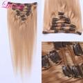 Grado 7A Honey Blonde #27 100% Remy Clip En Extensiones de cabello Clip En la Extensión Del Pelo Virginal Brasileño Recto 8 Unid/set 100g
