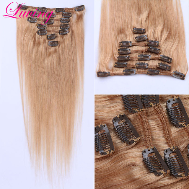 Grau 7A Honey Blonde #27 100% Remy Grampo Em Humano Extensões de cabelo Grampo de Cabelo Virgem Brasileiro Em Extensão Em Linha Reta 8 Pc/set 100g
