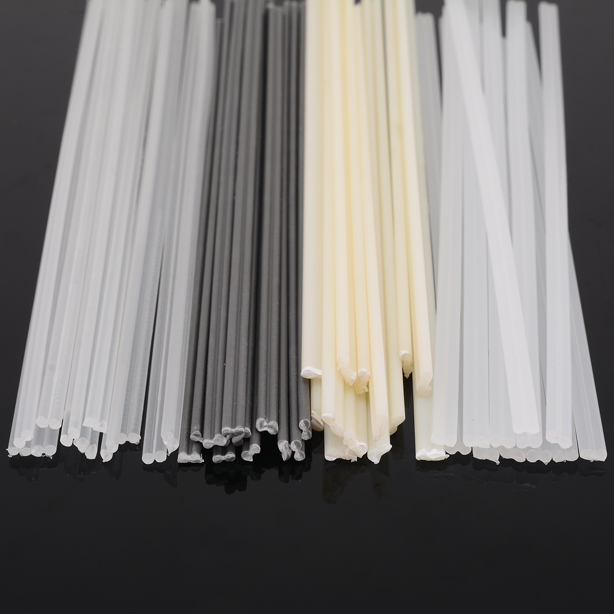 50pcs Plastic Welding Rods Bumper Repair ABS/PP/PVC/PE Welding Sticks Welding Soldering Supplies Grey White Black Beige Color