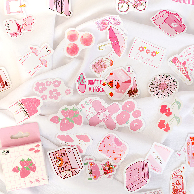 50pcs/1pack Stationery Stickers Summer Time Series Diary Planner Decorative Mobile Stickers Scrapbooking DIY Craft Stickers