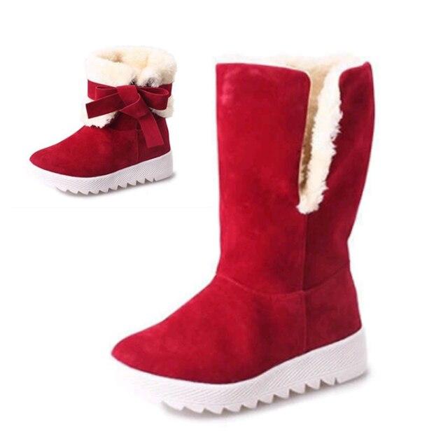 Nieuwe Mode Enkellaars Vrouwen Winter Warmer Vrouwelijke Snowboots Midden Buis Pluche Bowtie Fur Suede Platform Katoen Schoenen Dames