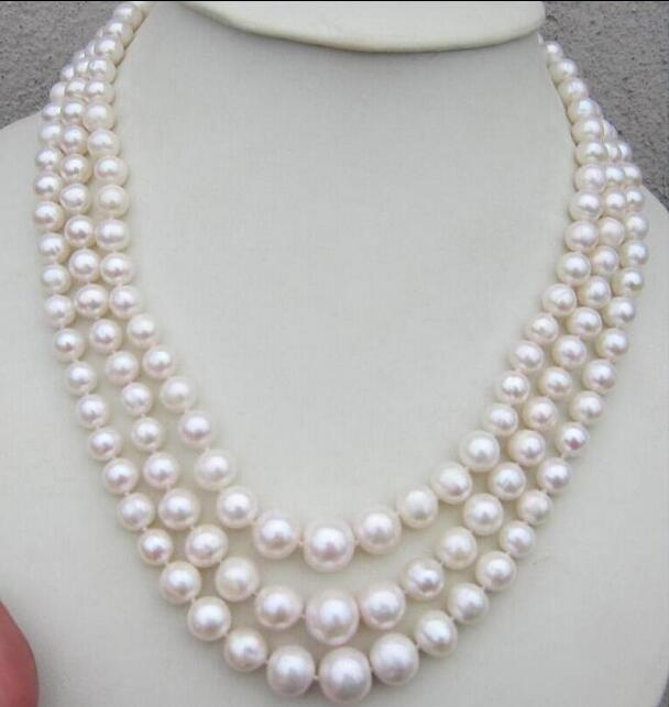 beautiful 3row AAA 7-12mm south white pearl necklace 17-19 Yellow CLASPbeautiful 3row AAA 7-12mm south white pearl necklace 17-19 Yellow CLASP