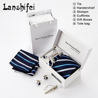 2017 New 4PCS Fashion Business Wedding Party Tie Set Man Tie Handkerchief Pin and Cufflinks Gift Box Tote Bag Packing 11Colors