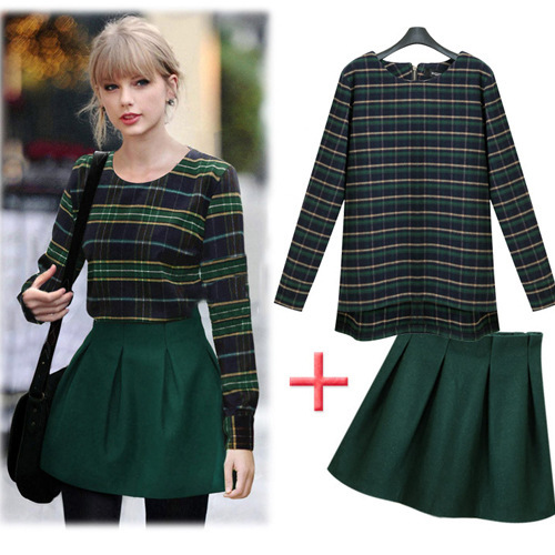 5a042510f4 European Dark Green Pladi Check Sweatshirs Skirts Suit Women's Sets Long  Sleeve Tops Skirt Suit