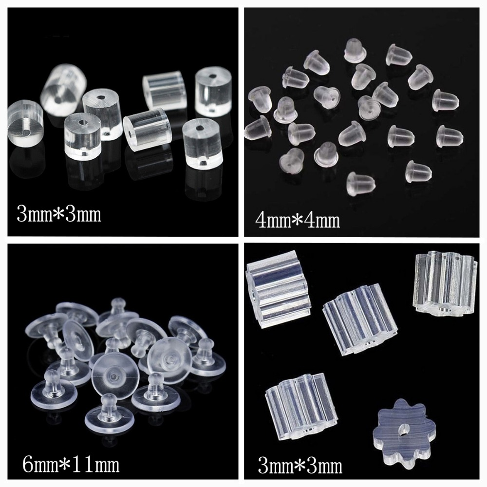 100PCS Bullet Clear silicone earring plugging,rubber round earring back stoppers DIY earring jewelry material