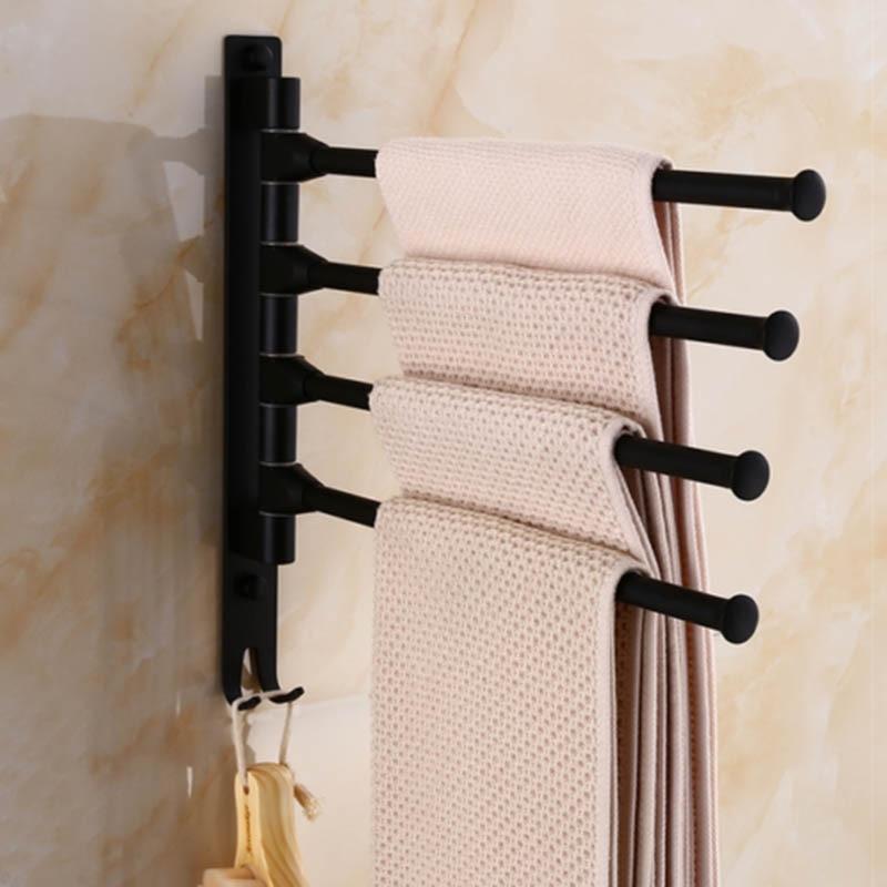 Wall Mount Swivel Towel Bar space aluminum black Towel Rack Holder for BathroomWall Mount Swivel Towel Bar space aluminum black Towel Rack Holder for Bathroom