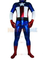 Shiny Metallic Captain America Superhero Costume Halloween Cosplay Costumes Adult The Most Classic Zentai Suit Free