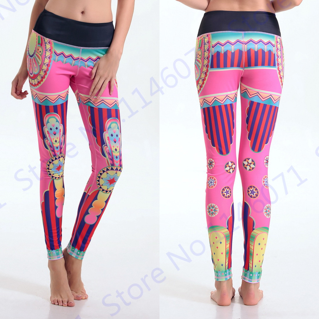 bf8918f6fdc82 Pink Stripes National Yoga Pants Retro Roman Style Female Running Skinny Leggings  Indian Style Sports Exercise Tights 3D Print