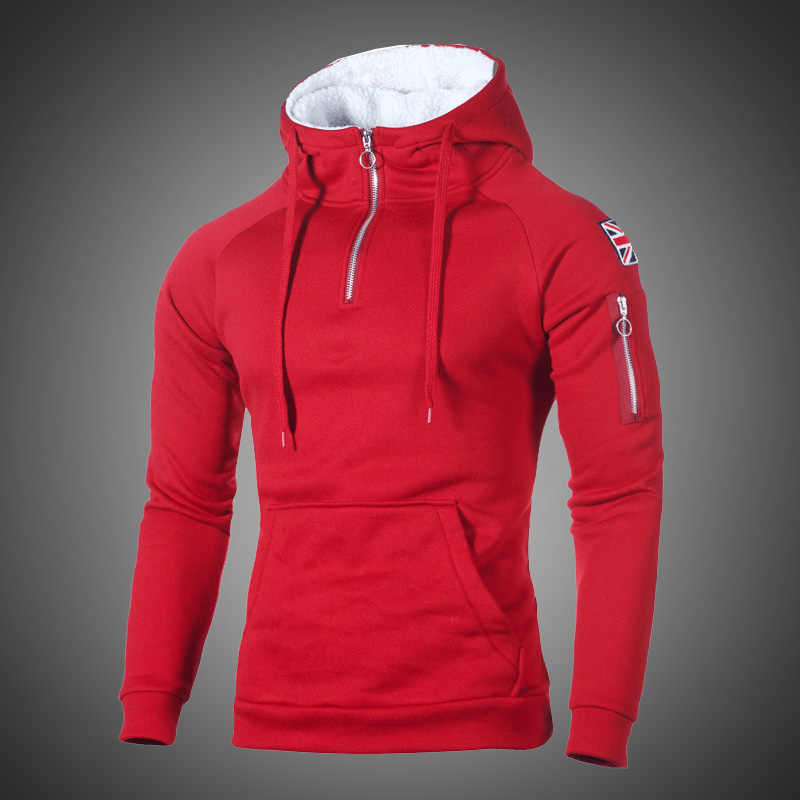 Hip Hop Zipper Hooded Sweatshirt Men 2019 Spring Casual Flag Print Pullover Hoodies Sweatshirts Male Solid Streetswear Red Black