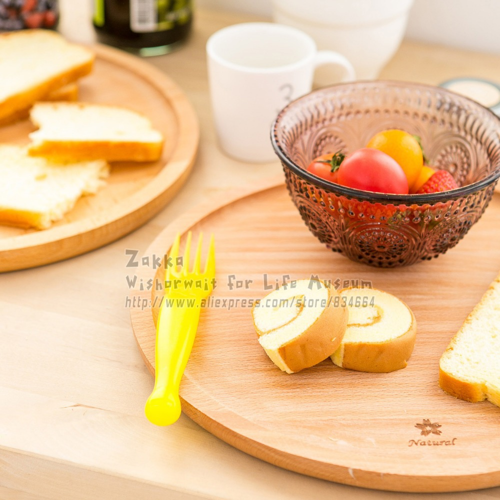 New arrival Zakka 1Pcs Round solid beech wood bread plate/Wood without paint fruit plate/snack cake plate/Home decoration