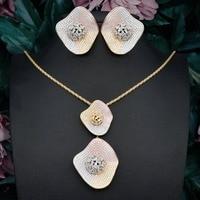 Delicate Luxury Gemoetric Super AAA Cubic Zirconia Zirconia Party Wedding DUBAI Pendant Necklace And Earring Jewelry Set