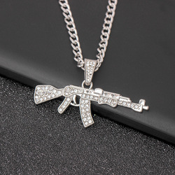 Fashion Cool AK47 Gun Pendant Necklace Hip Hop Jewelry Gold Color Uzi Necklaces For Men And Women Stainless Steel Chain
