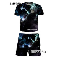 LIASOSO latest summer men and women T shirt suit Tokyo Ghoul 3D printing fashion men and women suits brand clothing K001