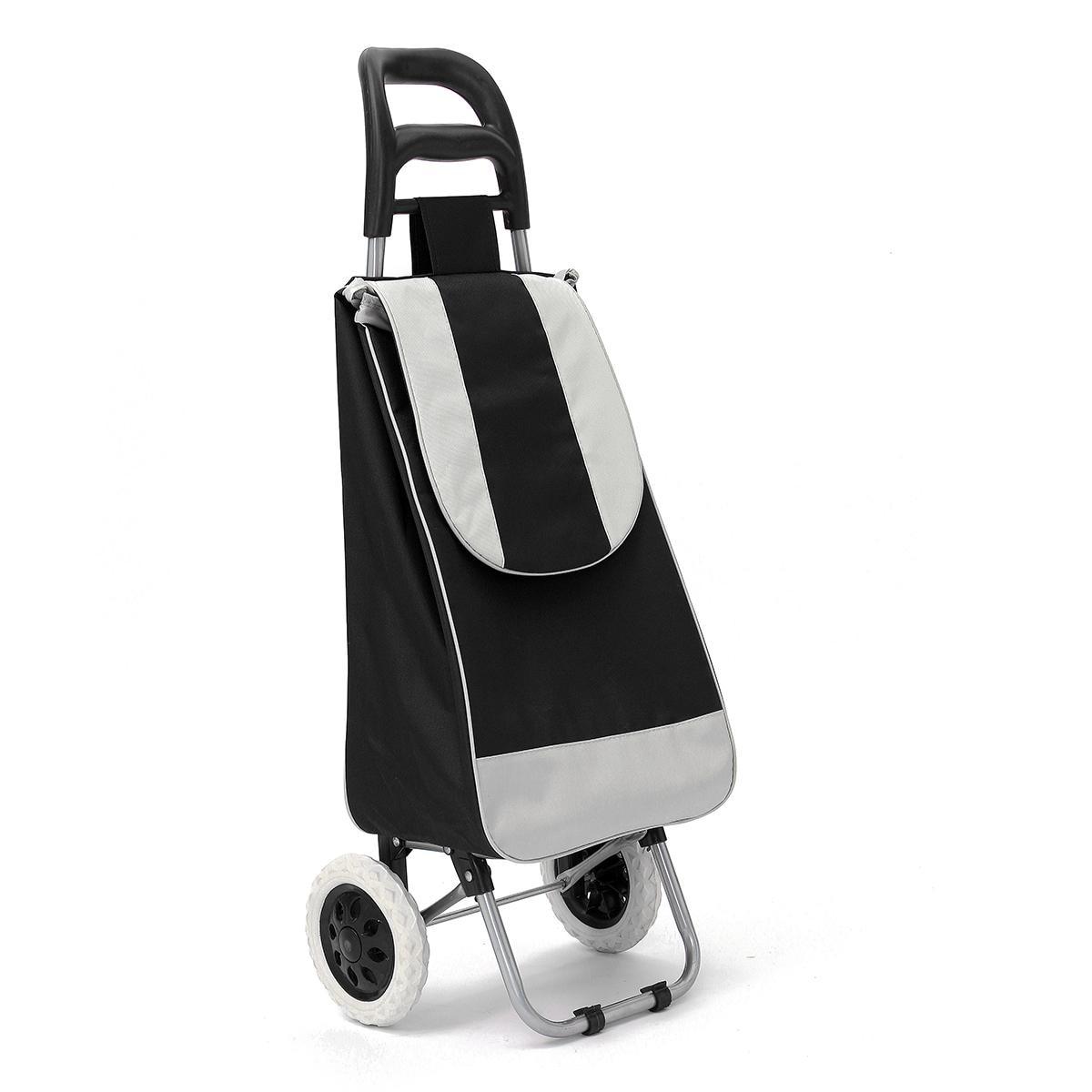 45L Складная хозяйственная сумка-тележка на колесиках, сумка для тележки на колесиках, корзина для багажа, колеса, ткань Оксфорд, Floding - Цвет: Черный