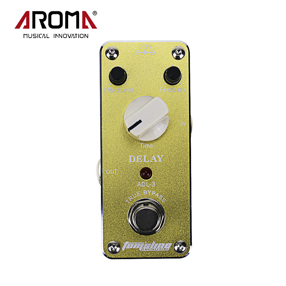 Aroma ADL-3 Mini Delay Electric Guitar Effect Pedal With Sticker Aluminum Alloy Housing True Bypass Design aroma adl 1 aluminum alloy housing true bypass delay electric guitar effect pedal for guitarists hot guitar accessories