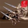 100% Япония 440c Розовое золото Профессиональный бренд Домашних Животных собака Холить ножницы 7.0 7.5 8.0 дюймов sharp cutting straight shears