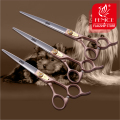 100% Japan 440c  Rose gold Professional Pet brand dog Grooming scissors 7.0 7.5 8.0 inch sharp cutting straight shears