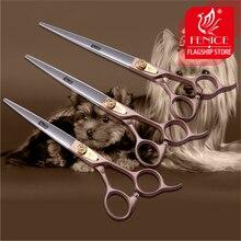 100% г. Япония 440c розовое золото Профессиональные ПЭТ бренд Стрижка собак Ножницы 7.0 7.5 8.0 дюймов Sharp резки прямые ножницы