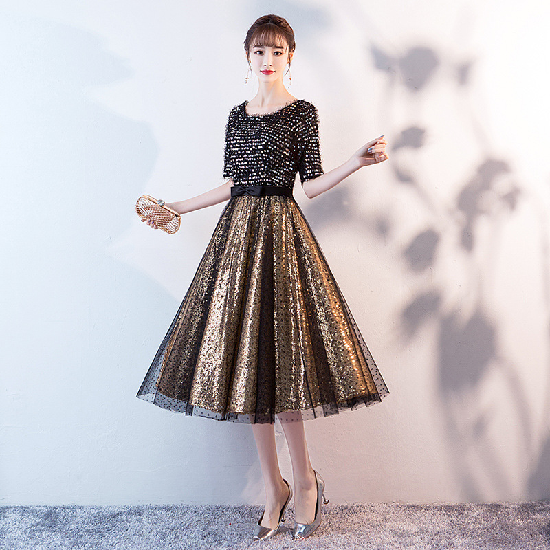 2019   Prom     Dress   Black Gold Sequins Half Sleeve O-neck Women Party   Dress   Night Tea-length A-line Plus Size Vestidos De Gala E427