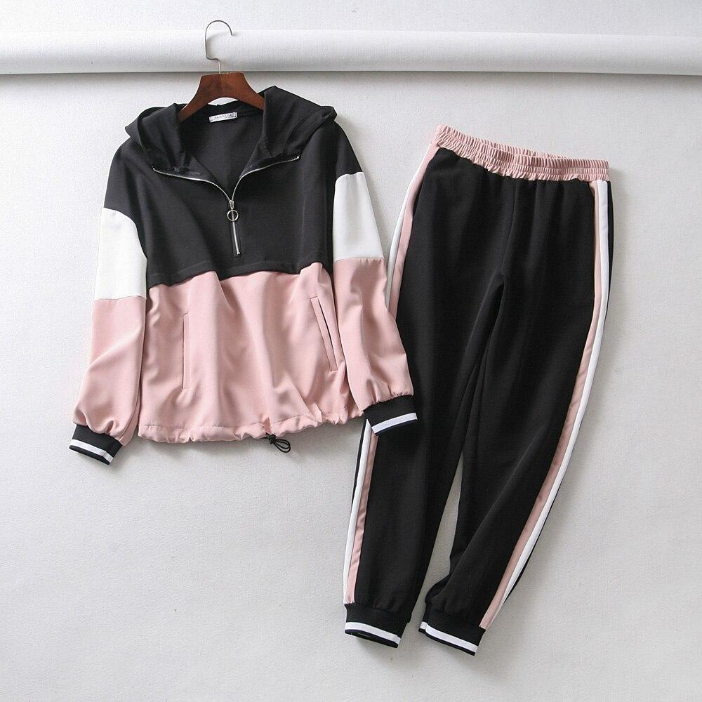 Survêtement femmes ensemble deux pièces tenues pour les femmes mince couleur couture veste décontracté veste et jogging pantalon de costume décontracté