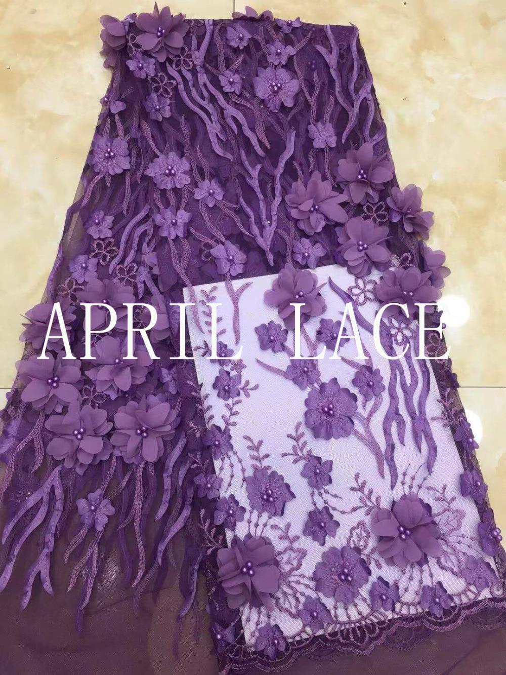 5 yards xx01 # pourpre 3d mousseline de soie fleur perles de luxe tulle maille dentelle pour le sciage de mariée robe de mariage/occasion