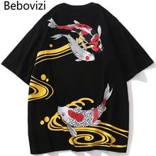 Bebovizi Japan Streetwear Style Koi Fish Print T-Shirts Men Hip Hop T Shirt Summer Tshirt Cotton Oversized Loose Tops Tees 2019