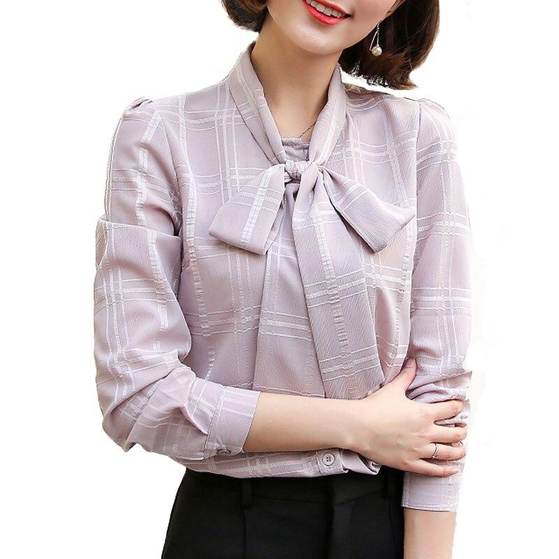 Blusas Top Invierno En V Casual Las Caliente Tee Gasa E De Otoño Dobladillo Cuello Camisa 2019 rosado Cuadros blanco Volocean Kimono rojo Blusa Mujeres Caqui 6qR7z