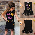 Dress 2016 Cute Toddler Kids Children Baby Girls Tassels Black Letter Printed Love Sleeveless Party Dress Clothes Summer Girl