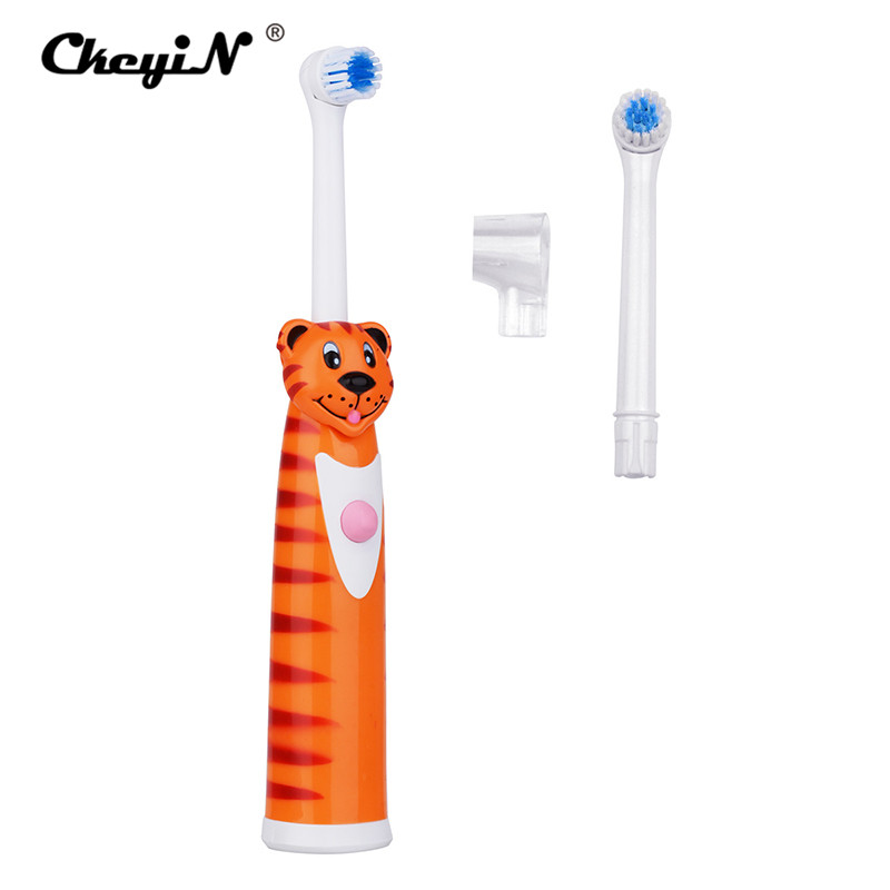 CkeyiN Children Cartoon Electric Toothbrush Electric Massage Ultrasonic Toothbrush Oral Hygiene Teeth Brush Tooth+2Pc Brush Head ultra soft children kids cartoon toothbrush dental health massage 1 replaceable head outdoor travel silicone retractable folding