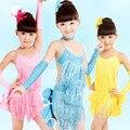 Кисточкой Сексуальный Ребенок Латинский Танец Dress Girl Современная Сальса Танец Dress для Сценическое Бальные Dress Kid Латинской Елец Костюм 89