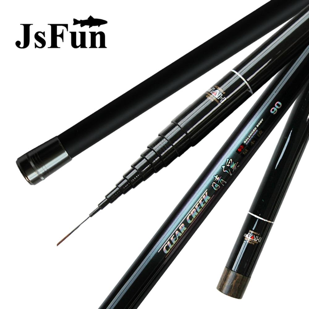 JSFUN Fishing rod 8M 9M 10M 11M 12M Folding fishing rod Fly fishing Telescopic carbon Rods