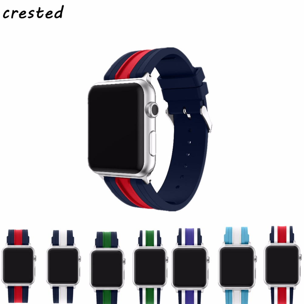 CRESTED Sport Strap For Apple Watch band 4 44mm 40mm correa iwatch series 3/2/1 42mm/38mm silicone wrist bracelet rubber belt 20 colors sport band for apple watch band 44mm 40mm 38mm 42mm replacement watch strap for iwatch bands series 4 3 2 1