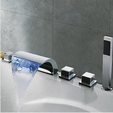 На бортике LED Chrome Водопад Ванная Комната Ванна Кран 5 ШТ. Смеситель W/Ручной Душ