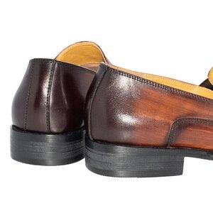 Image 5 - sapatos masculino social bico fino Metal decoração Lavar à mão cor Marrom Amarelo Sapatos de couro