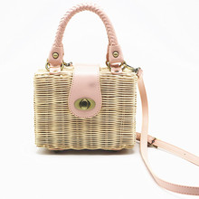 New Straw Shoulder Bag fashion Mini Hand-woven Messenger Bag Summer Beach Square box Straw Handbag Party Party Shoulder Bag