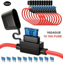 10 Pack Car Fuse Holder Waterproof Heavy Duty Wire ATC/ATO Add-a-circuit TAP Adapter 16 Gauge 15AMP