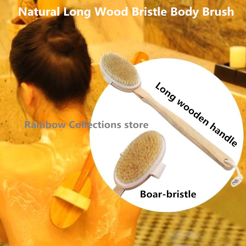 US $6 52 10% OFF|Bathroom Natural Bristle Cleaning Removable Long Handle  Wooden Maasage Health Care Bath Body Brush for bath Free shipping-in Brush