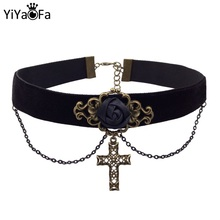 YiYaoFa Cross Necklace Vintage Choker & Pendant Jesus for Women Accessories DD-18