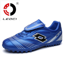 LEOCI 2016 New Mens Kids Soccer Shoes Cleats Hard Court Football Boots TF Football Sneakers Voetbalschoenen Botas Futbol 34-44