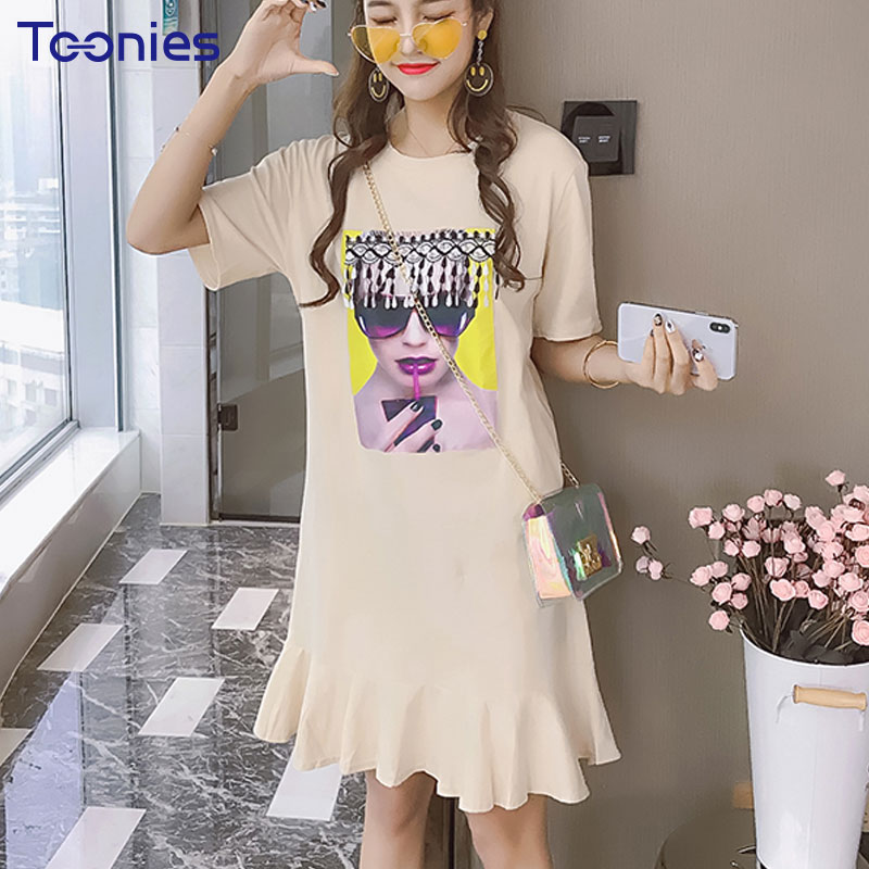 Summer New Sweet T-shirt Dress Women Short Sleeved Funny Character Printed Loose Dress Female Casual Round Neck Ruffles Dress
