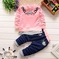 2016 Otoño Niño Niños Trajes para Bebés Niñas niños Ropa Conjuntos lindo Bebé de Algodón Trajes de la Camiseta + Pants 2 Unids Sport Casual Envío gratis