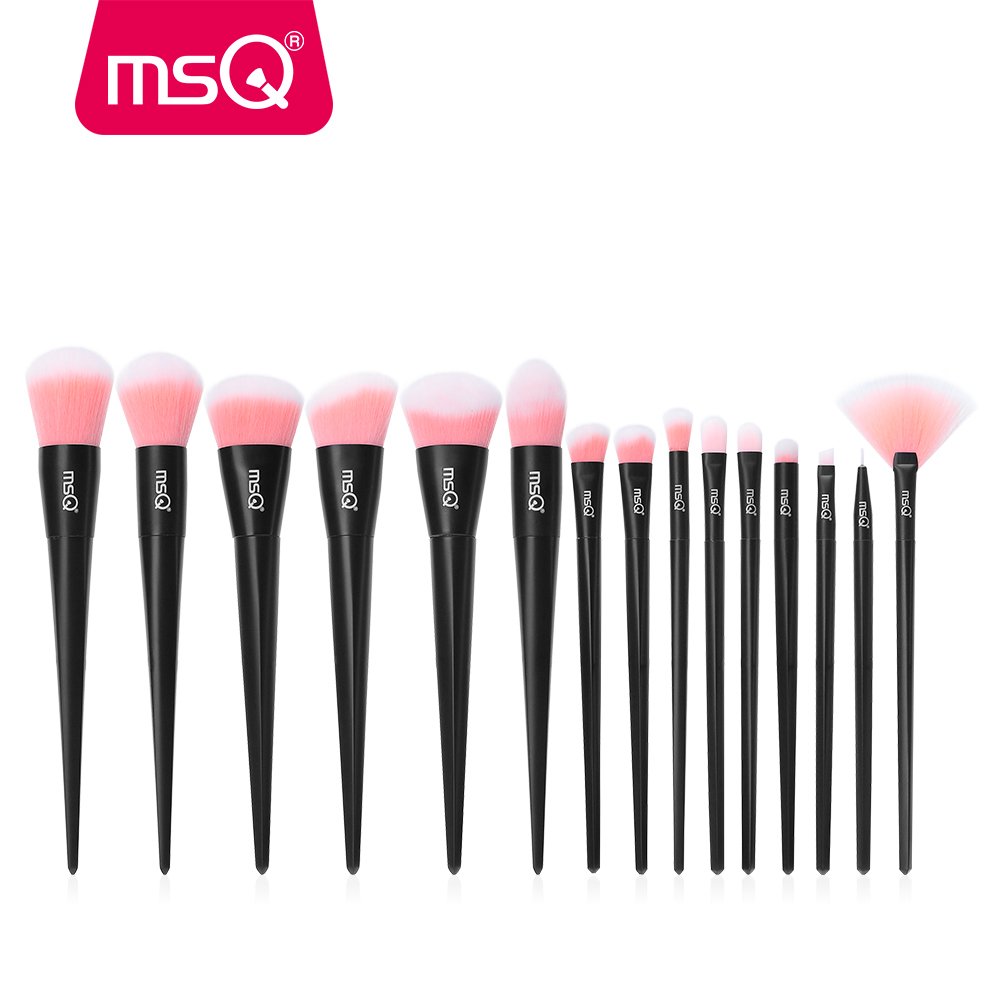 MSQ 15pcs Makeup Brush Set Professional Foundation Powder Eyeshadow Lip Make Up Brushes Kit Plastics Handle Synthetic Hair msq professional 15pcs makeup brushes set soft synthetic hair natural wood handle with pu leather case for beauty fashion tool