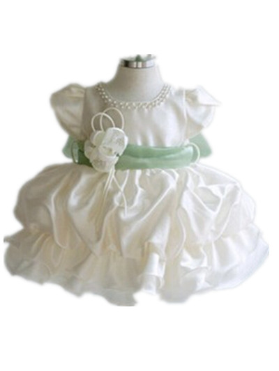 BBWOWLIN Baby Girl Dress Vestido Infantil for 1 Year Birthday Party Dress Ivory Cake Dress + Green Belt Dresses 9013 лонгслив sweewe sweewe sw007emrqi89