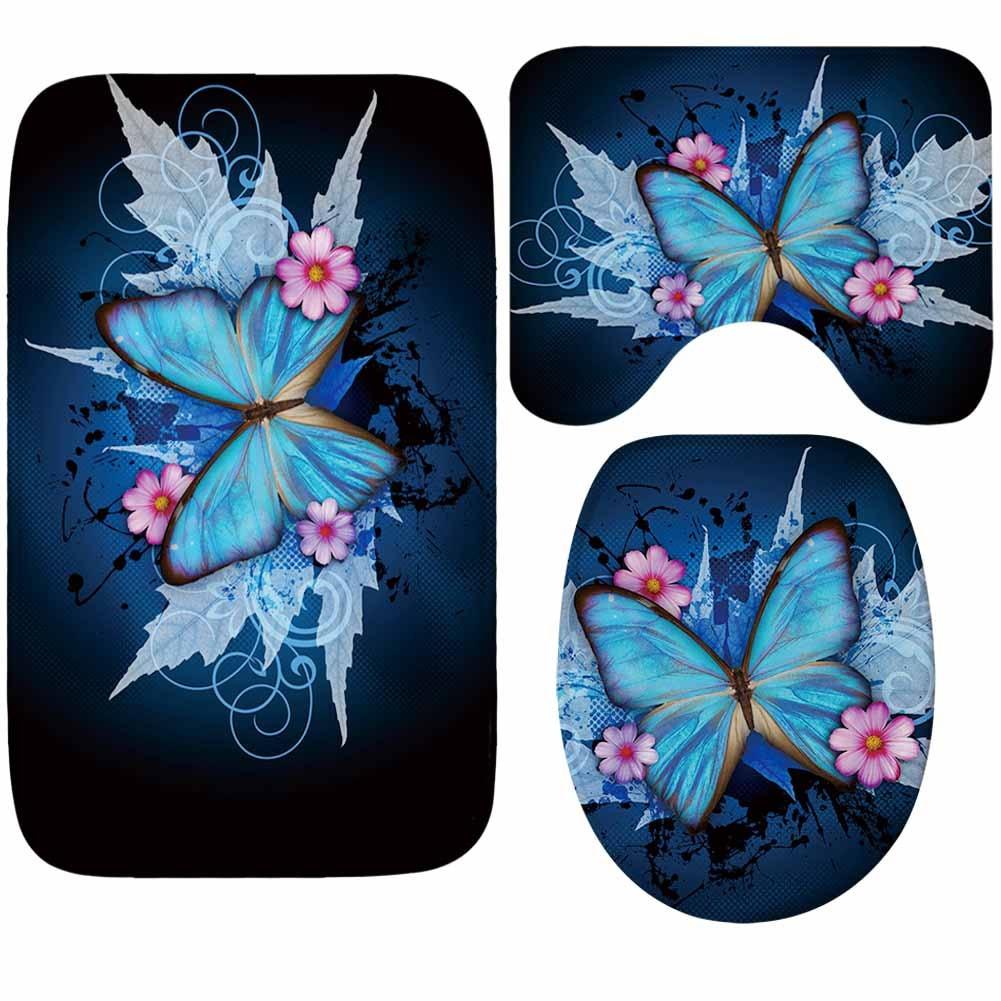 Zeegle Butterfly Printed 3pcs Set Bathroom Mat Anti Slip