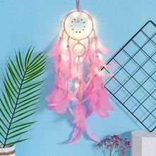 Indian Dreamcatcher Hanging Decoration Home Pink Sansei III Feather Handmade Ornament Pendant Garden