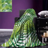 Plant Throw Blanket Watercolor Tropical Palm Leaves Colorful Illustration Natural Feelings Warm Microfiber