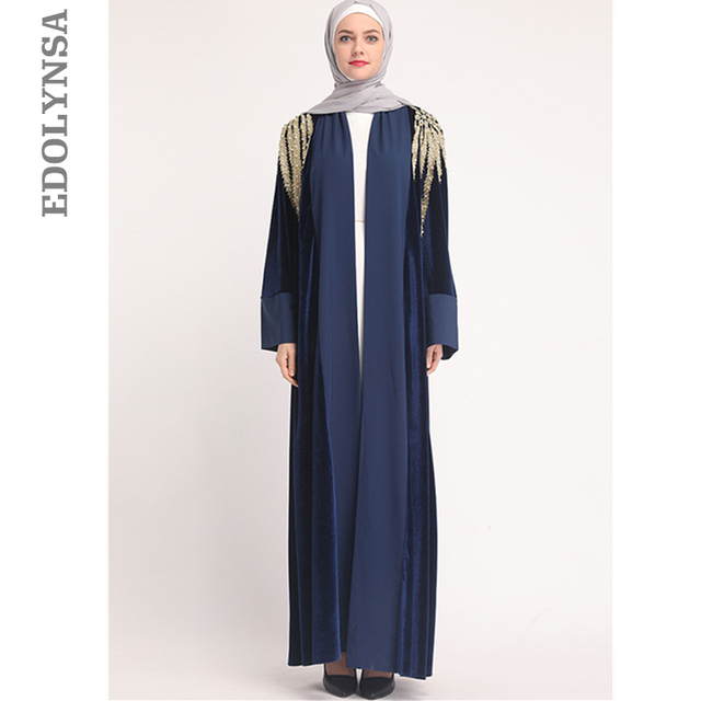 2019 Modest Muslim Dress Floral Abayas for Women Elegant Long Soft Turkish Islamic  Robes Women s Clothing 7f0a7f255b15
