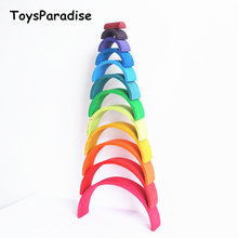 Baby Toys 12Pcs Rainbow Blocks Wooden Toys For Kids Large 84*35*18cm Creative Rainbow Building Blocks Montessori Educational Toy(China)