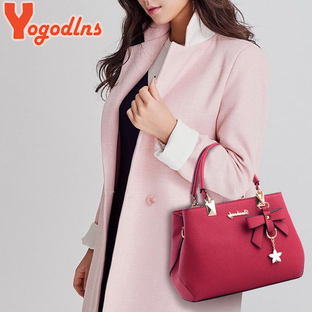 Yogodlns New 2019 Elegant Shoulder Bag Women Designer Luxury Handbags Women Bags Plum Bow Sweet Messenger Crossbody Bag